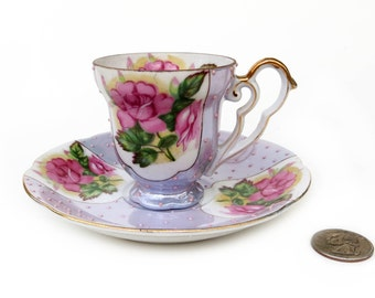 Japan Moriage Demitasse Cup Saucer Duo, Vintage Beaded Porcelain, Gold Gilding, Pink Roses and Beads on Lavender Background, Excellent Shape