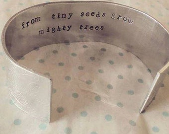 Wide Cuff Bracelet With A Hidden Message - Hand Stamped Bracelet - Secret Message - Gift for Her - Jewellery - Personalise - Personalize