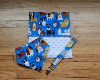 Puppy Baby Gift Set - Dog Baby Gift - Baby Shower Gift - Gender Neutral Baby Gift - Burp Cloth - Bandana Bib - Pacifier Clip - Hair Bow
