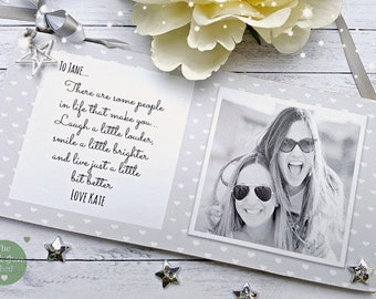 Friend Gift Personalised Photo Plaque Sister Sign Tibetan silver charm Keepsake