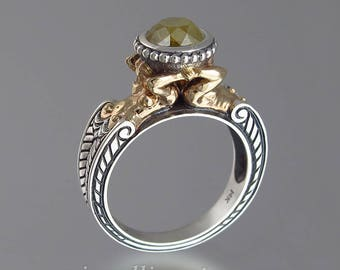 CARYATID 14K gold and silver ring with 2.62ct Yellow Diamond