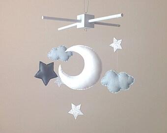 Moon & Stars Baby Mobile . Grey Nursery Decor . Monochrome Nursery Decor. Grey Cot Mobile . Clouds Nursery Mobile . Silver Nursery Decor .