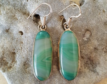 ON SALE...Beautiful Mint Green Agate Sterling Silver Dangle Earrings. Mint Green 925 Earrings. Green 925 Earrings. Israel Jewelry