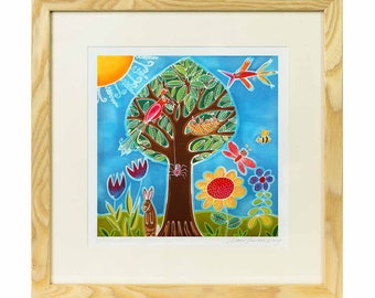 Tree Of Birds - Limited edition print of batik, vibrant childrens print, nursery print, christening gift print, baby girl print, nursery