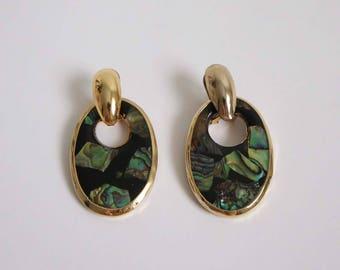 VINTAGE Earrings Iridescent Green Black Gold Dangle 1980s Pierced
