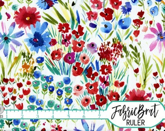 MODERN WATERCOLOR FLORAL Fabric by the Yard, Fat Quarter Chic Red Blue Flower Fabric 100% Cotton Fabric Quilting Fabric Apparel Fabric a2-40