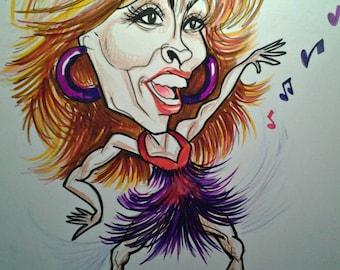 Tina Turner Rock Caricature Rock Portrait Music Art by Leslie Mehl Art