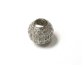 Metal rhinestone-encrusted PF30 080 shape bead 7mm round