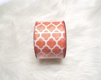 2.5X10yds-Peach quatrefoil ribbon, Peach lattice ribbon, Peach quatrefoil ribbons, Peach lattice ribbons, Peach ribbon, Peach wired ribbon