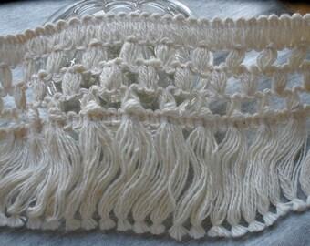 "Ecru Bedspread Fringe Checker pattern trim 3.75"" wide cotton yards pillow fringe sewing crafts costume home decor natural off white"