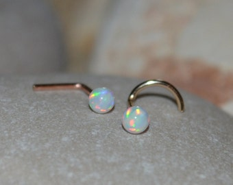 Silver NOSE STUD // White Opal Nose Ring - Forward Helix Earring - Cartilage Earring Stud - Tragus Earring Stud - Nose Screw 20 gauge