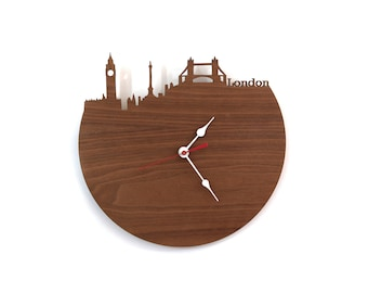 Walnut London Modern Wall Clock - London, England, United Kingdom Modern City Skyline Clock