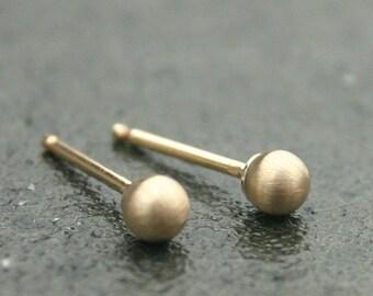 Brushed Gold Earrings - Matte Gold Stud Earrings - ( 3mm ) - handmade small gold earrings - tiny gold earrings handmade jewelry