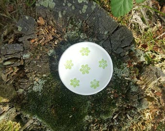Handmade Clay Trinket Ring Dish, stamped with Flowers- Home, Accessories, Gift