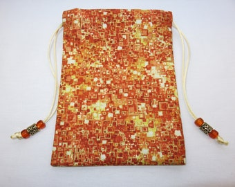 "Geometric Silk Lined Handmade Tarot Card Pouch, Tarot Card Bag 5"" x 7"""
