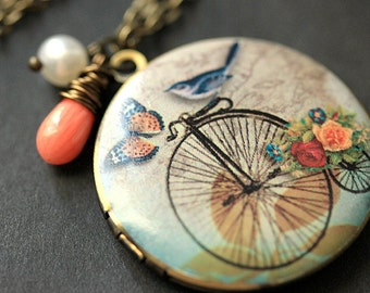 Bicycle Necklace. Blue Bird Necklace. Bird Necklace with Pink Coral Teardrop and Fresh Water Pearl. Bronze Locket. Handmade Jewelry.