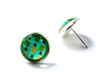Aqua pineapple earrings, Pineapple Earrings, Glass Stud Earrings, Pineapple Glass Earrings, Pineapple Stud Earrings, Pineapple Jewelry