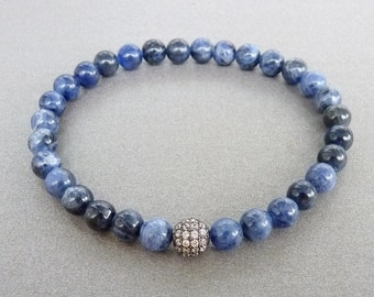 Mens Bracelet Sodalite Bracelet for him Minimalist Bracelet for men Jewelery Mens gift for men Blue Bracelet Cubic Zirconia Genuine Sodalite