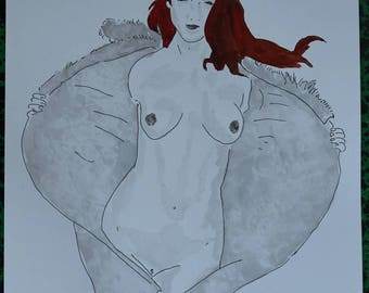 "nude drawing erotic female portrait ""unbridled"""
