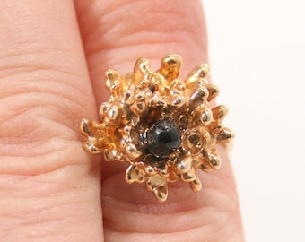 Vintage Modernist Ring Vintage Gold Spikes Costume Jewelry Statement Ring