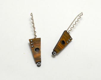 Faux wood polymer clay Sterling Silver dangle tribal shield earrings zig zag sterling wires bullseyes graphic patterns