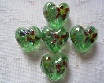 4  Christmas Green & Red AB Flower Puffed Hearts Lampwork Beads  22mm