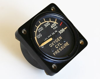 WWII Era Aircraft Low Pressure System Oxygen Pressure Gage by GE