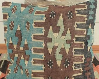 40cm Vintage kilim cushion cover handwoven - natural dyes blue brown  SLIT WEAVE kilim