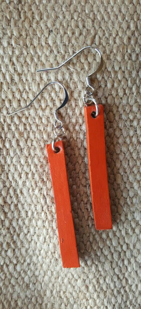 Ladies Orange Lightweight Leather Dangle Earring Set - Silver Shepherd Hooks ~ Hand Dyed Leather Earrings - Canadian Leather Jewelry