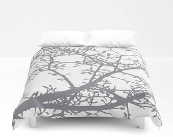 Grey and White Magnolia Branches Duvet Cover - Modern Bedding - Tree Branches Duvet Cover - Full Queen King Size - Aldari Home