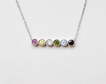Birthstone Necklace, Mom Birthstone Necklace, Personalized Necklace For Mom, Family Tree Jewelry, Birthday Gift For Mom, Gift For Mom, Gift
