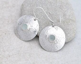 RESERVED - Cloudy Aquamarine Earrings, Aquamarine Jewelry, Aqua Round Silver Earrings & Aquamarine, Aquamarine Birthstone Earrings