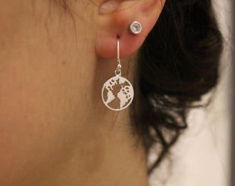 World Earrings, Dangle Earrings, Dainty Earrings, Drop Earrings, World Map Earrings, Tiny Earrings, Boho Earrings, Earrings For Women