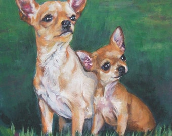 Chihuahua dog art CANVAS print of LA Shepard painting 8x8