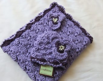 Baby Girl Shower Gift Set - Baby Girl blanket - Crochet baby blanket Lavender/ Plum wine Panel Shells and Pansy Beanie- Photography props