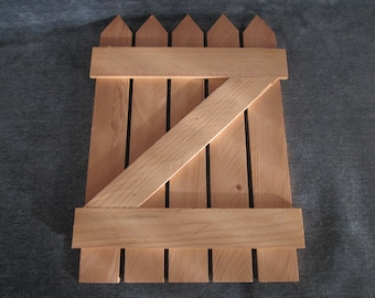 """Lot of 2, 9""""x12"""" pointed fence gates,wood,craft,folk art,painting"""