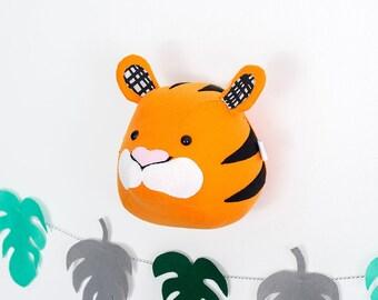 Wall art, tiger, nursery wall art, animal head, tiger head wall, safari, lion king, monstera, jungle room, safari animal, animal print,
