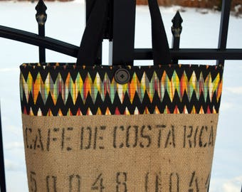 Large Recycled Burlap Coffee Sack Tote -- Costa Rica