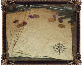 Pirate Treasure Map Themed Hand Antiqued Paper  - 10 Sheets