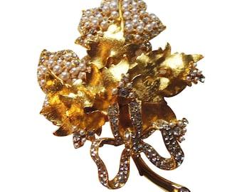 Magnificent Large Barrera Gold and Pearl Brooch/Pin Vintage 1980 Jose and Maria Barrera Original Crystal Designe Bride Pin