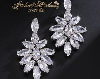 Cubic Zirconia Cluster Drop Bridal Earrings, ADMIRATION Crystal Earrings, Crystal Wedding Earrings, Cluster Earrings,Hollywood Glamorous