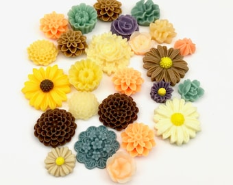 25 pcs resin cabochon flowers mix ,assorted sizes,#FL057