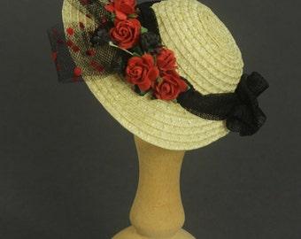 Premium straw doll hat size S, bonnet for BJDs, artist dolls and vintage dolls, raffia straw red flowers and black