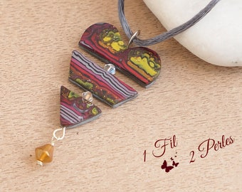 Red Heart Shaped Pendant Yellow Gray Polymer Clay, Polyester Jewelry, 3 Parts, Romantic Gift Boho Female Friendship Love Chic