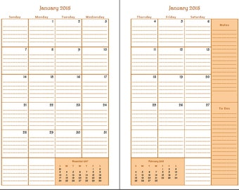 2018 Year Calendar - 2-page Monthly Spread - Aspect
