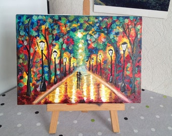 Romantic Couple Walk Abstract Oil Painting