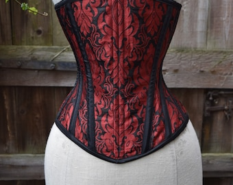 "Red and black brocade underbust corset (20"" waist)"