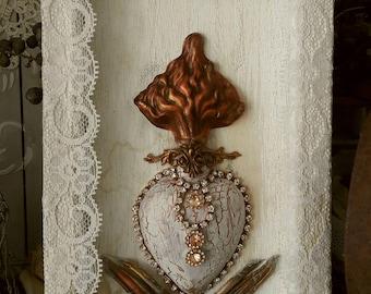 Sacred heart decorative framed