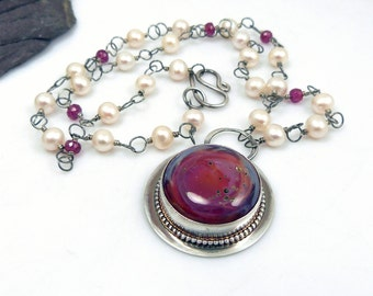 Carmina Necklace - Red Boro Glass and Sterling Silver Pendant with Pearl and Ruby Chain