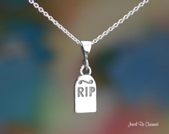 "Sterling Silver Tombstone Necklace 16-24"" Chain or Pendant Only R.I.P."